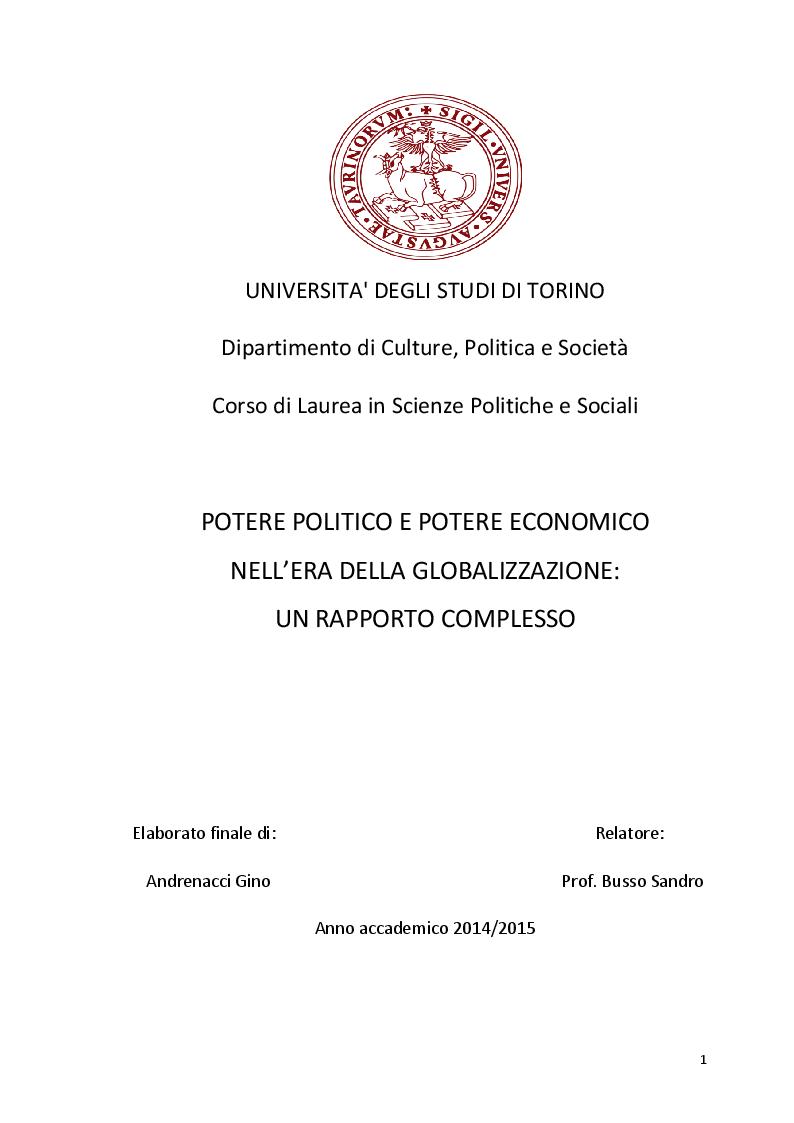 Anteprima della tesi: Potere politico e potere economico nell'era della globalizzazione: un rapporto complesso, Pagina 1