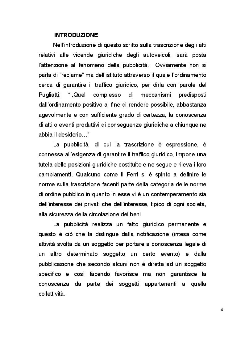 Anteprima della tesi: La pubblicità mobiliare degli autoveicoli, Pagina 2