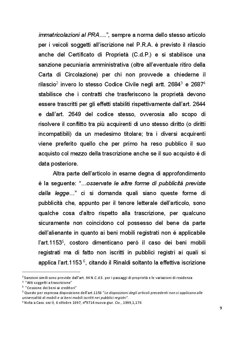 Anteprima della tesi: La pubblicità mobiliare degli autoveicoli, Pagina 7