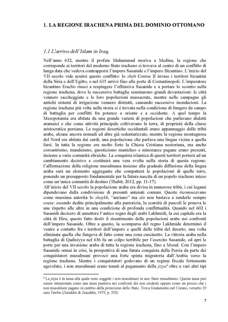 Anteprima della tesi: L'Iraq da provincia dell'Impero Ottomano alla caduta della monarchia (1514 - 1958), Pagina 5