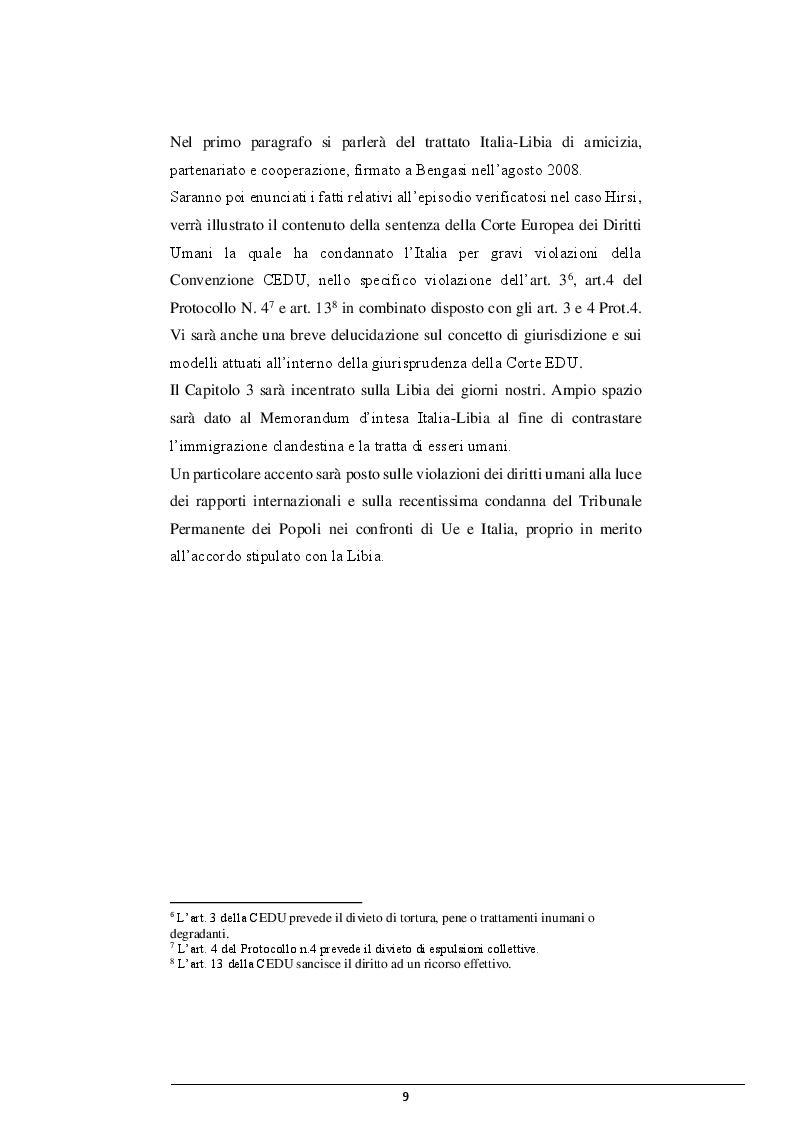 Anteprima della tesi: La cooperazione Italia-Libia e le violazioni dei diritti dei migranti, Pagina 8