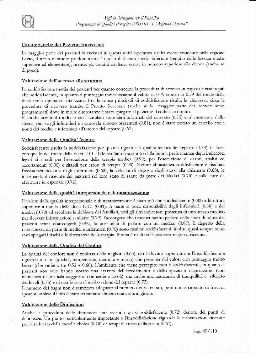 Anteprima della tesi: Programma di Qualità Percepita 2003 - 2004. L'azienda ascolta, Pagina 12