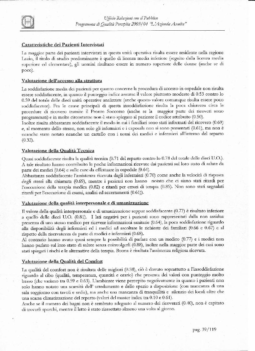 Anteprima della tesi: Programma di Qualità Percepita 2003 - 2004. L'azienda ascolta, Pagina 2