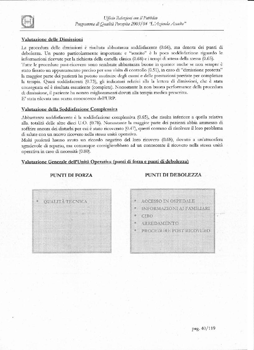 Anteprima della tesi: Programma di Qualità Percepita 2003 - 2004. L'azienda ascolta, Pagina 3