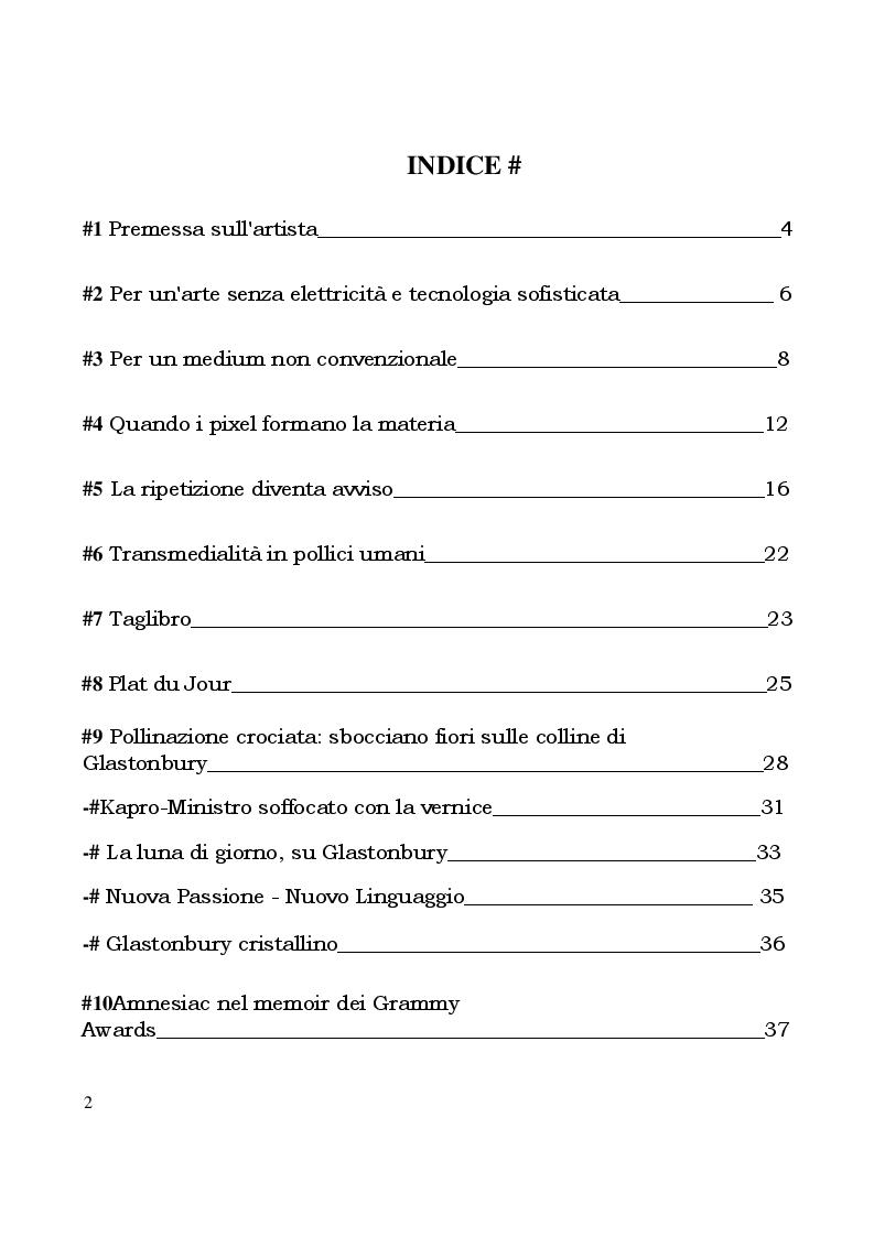Indice della tesi: Stanley Donwood - Tecniche e Metodi, Pagina 1