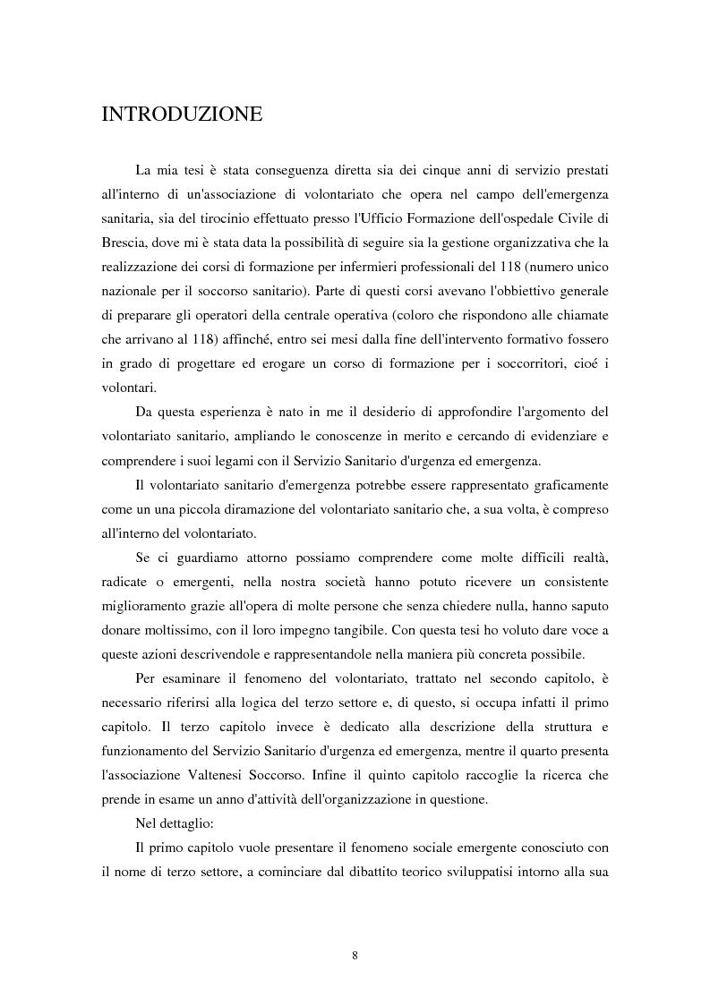 Anteprima della tesi: Terzo settore: aspetti teorici e analisi di un'organizzazione di volontariato sanitario nell'area dell'emergenza-urgenza, Pagina 1