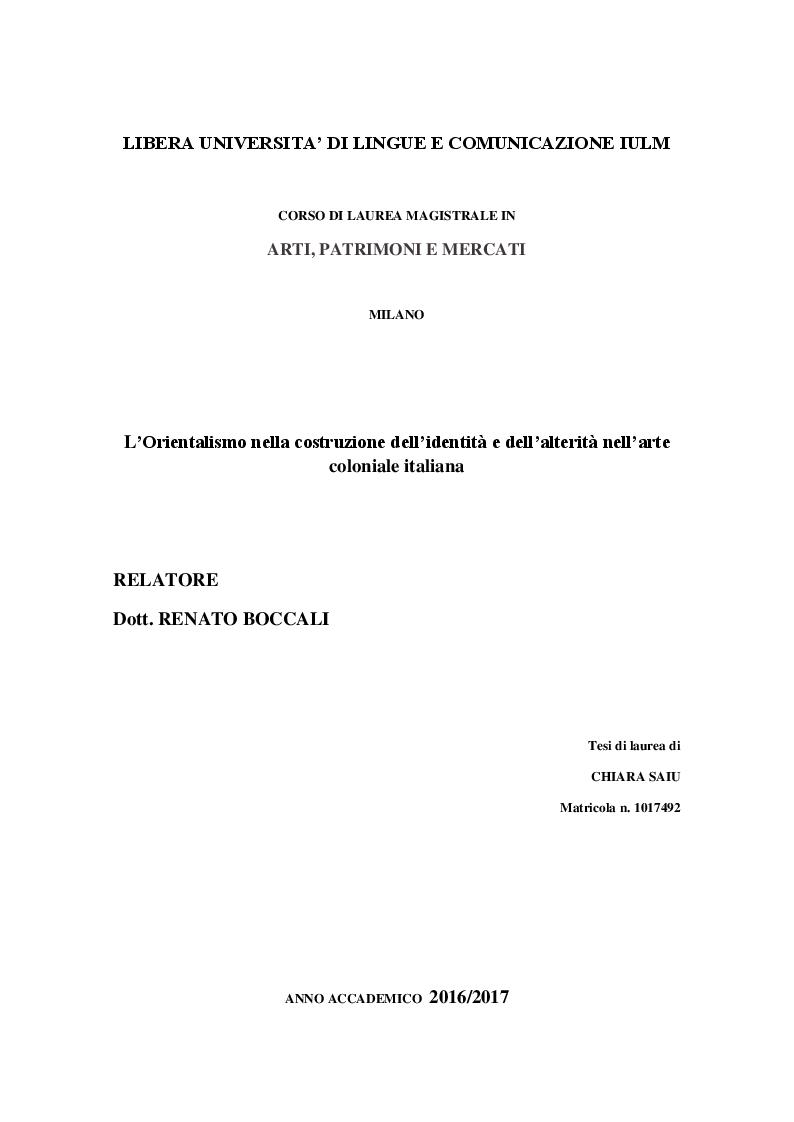 Anteprima della tesi: L'Orientalismo nella costruzione dell'identità e dell'alterità nell'arte coloniale italiana, Pagina 1