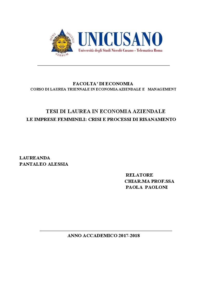 Anteprima della tesi: Le imprese femminili: crisi e processi di risanamento, Pagina 1