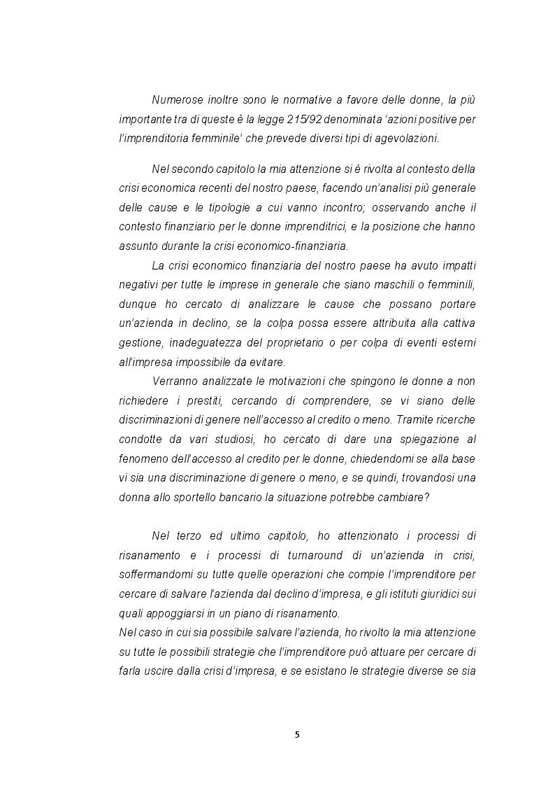 Anteprima della tesi: Le imprese femminili: crisi e processi di risanamento, Pagina 5