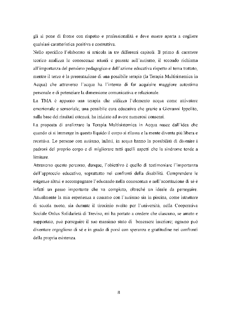 Anteprima della tesi: Autismo e Educazione. La Terapia Multisistemica in Acqua come prassi migliorativa., Pagina 3