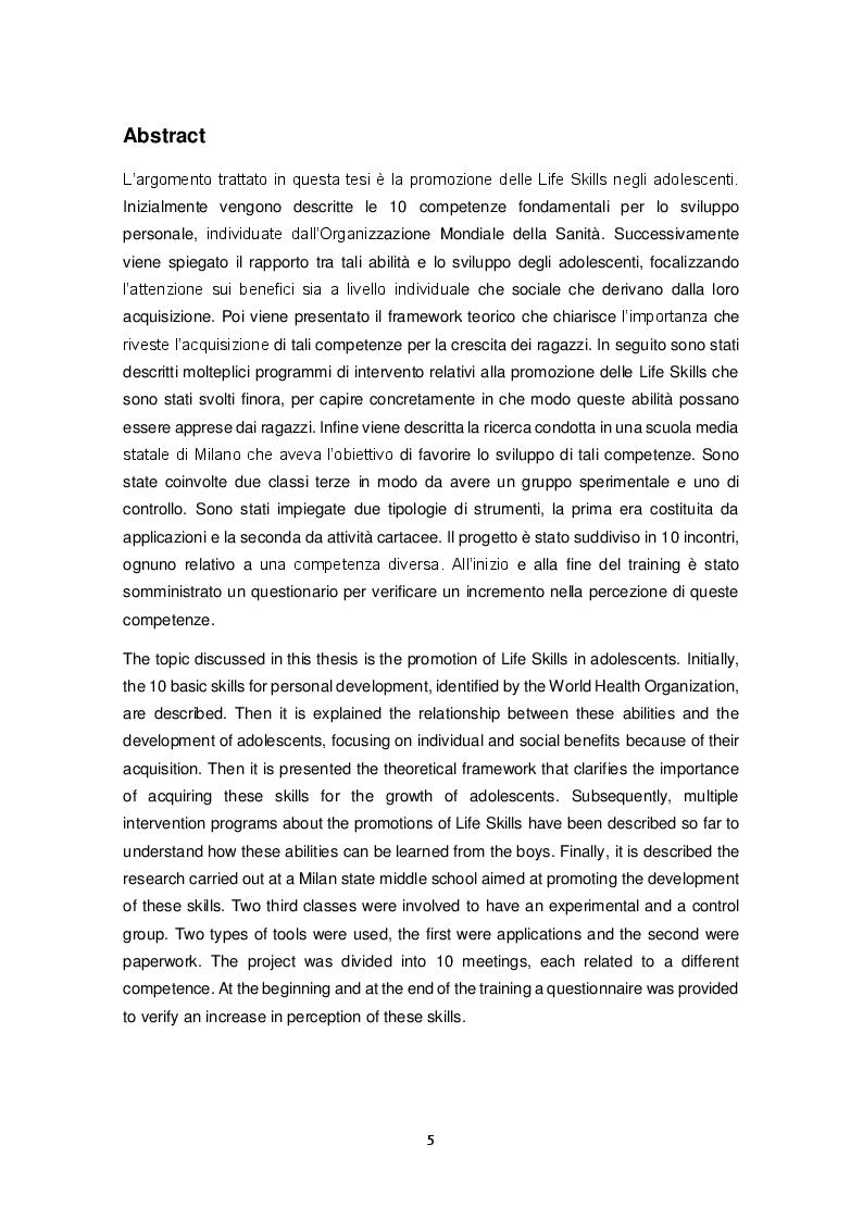 Anteprima della tesi: Promozione delle Life Skills negli adolescenti: descrizione e validazione di un protocollo di ricerca attraverso le nuove tecnologie, Pagina 2