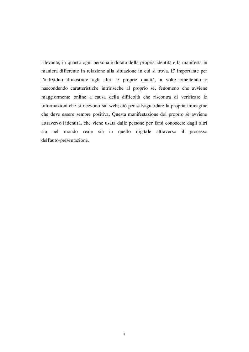 Anteprima della tesi: Identità personale e virtuale: due facce della stessa medaglia, Pagina 3