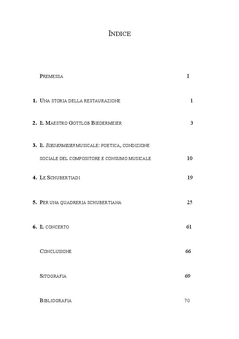 Indice della tesi: Schubertiade, Pagina 1