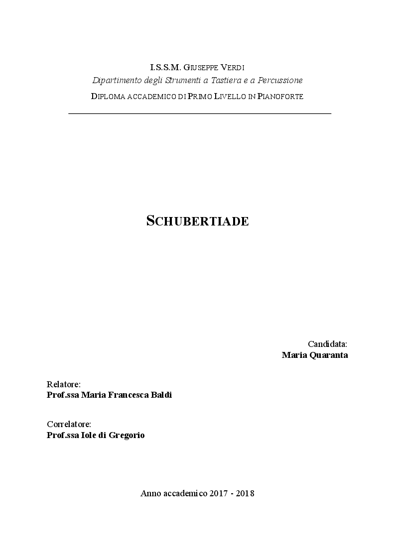 Anteprima della tesi: Schubertiade, Pagina 1