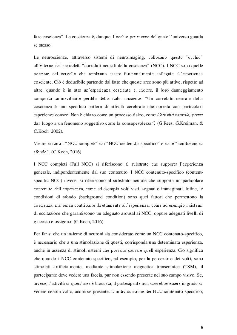 Anteprima della tesi: La coscienza nella Teoria dell'Informazione Integrata: una prospettiva relativistica, Pagina 6
