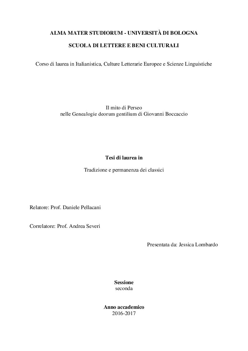 Anteprima della tesi: Il mito di Perseo nelle Genealogie deorum gentilium di Giovanni Boccaccio, Pagina 1