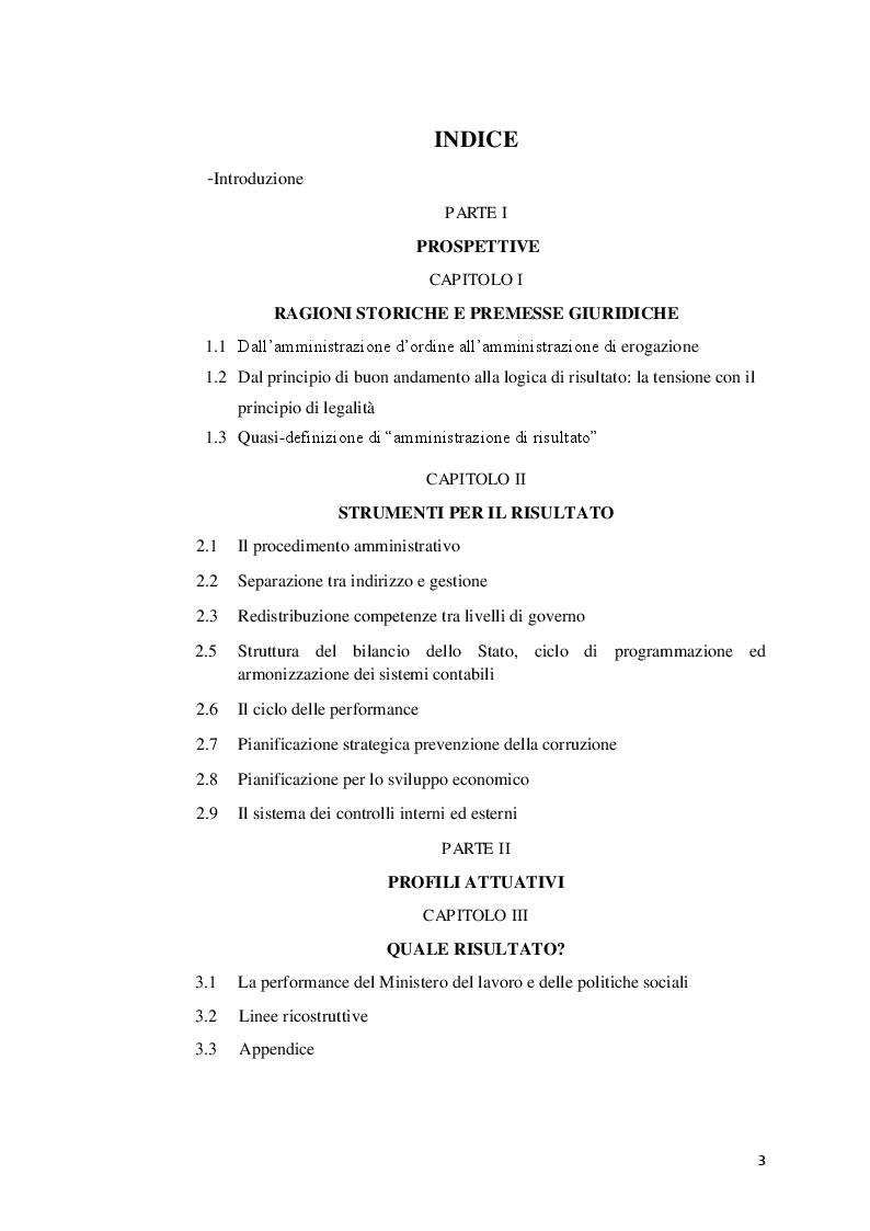 Indice della tesi: Amministrazione di risultato: prospettive e profili attuativi, Pagina 1