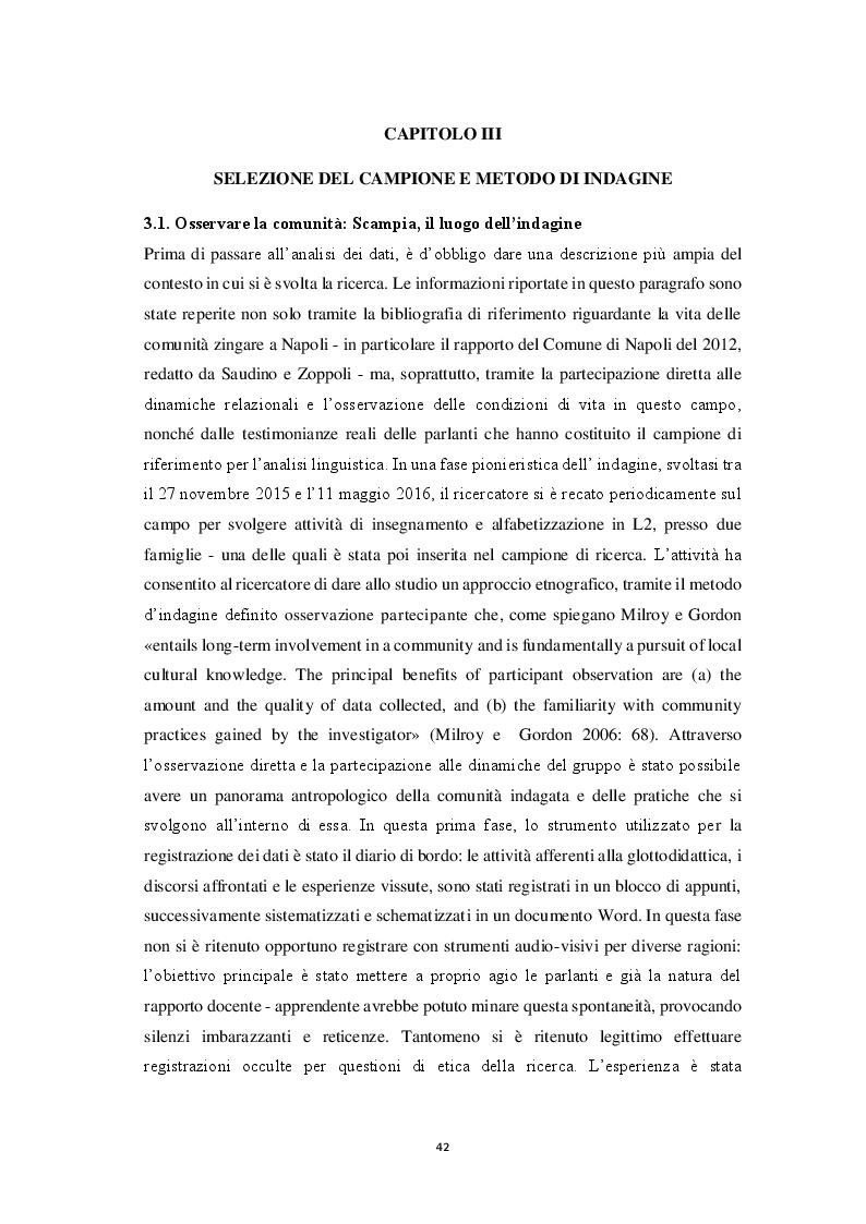 Anteprima della tesi: Aspetti morfosintattici dell'italiano L2 di madrelingua romanès, Pagina 2