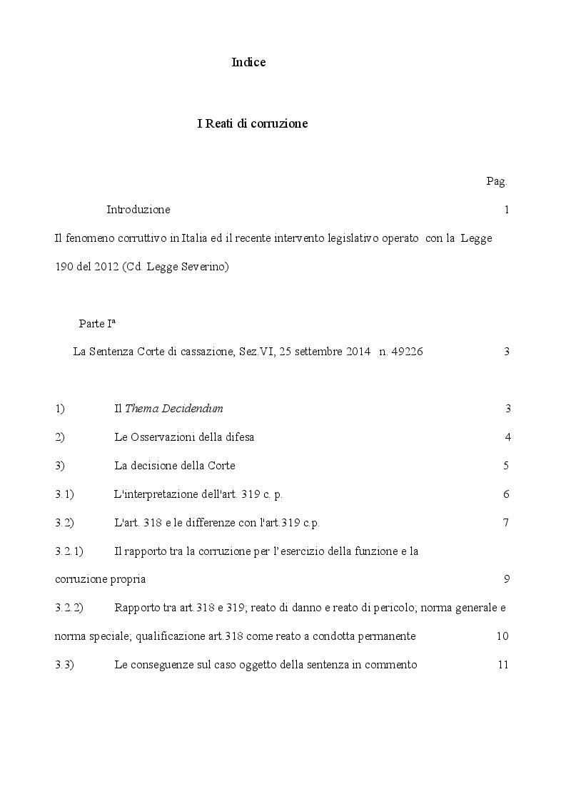 Indice della tesi: I reati di corruzione, Pagina 1