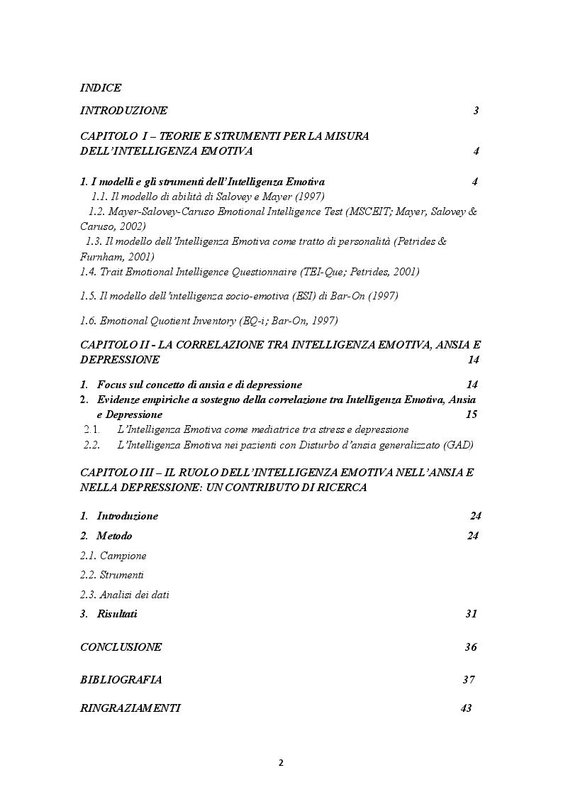 Indice della tesi: Il ruolo dell'Intelligenza Emotiva nell'Ansia e nella Depressione, Pagina 1