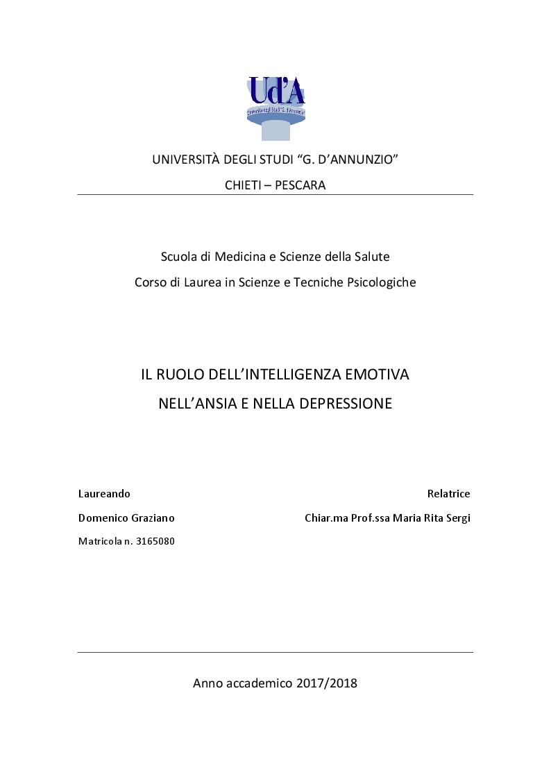 Anteprima della tesi: Il ruolo dell'Intelligenza Emotiva nell'Ansia e nella Depressione, Pagina 1