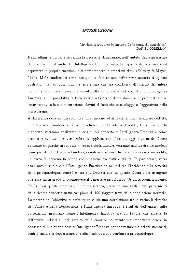 Anteprima della tesi: Il ruolo dell'Intelligenza Emotiva nell'Ansia e nella Depressione, Pagina 2