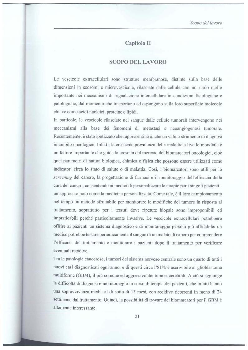 Anteprima della tesi: Studio di vescicole extracellulari rilasciate da cellule di glioblastoma per scopo diagnostico, Pagina 2