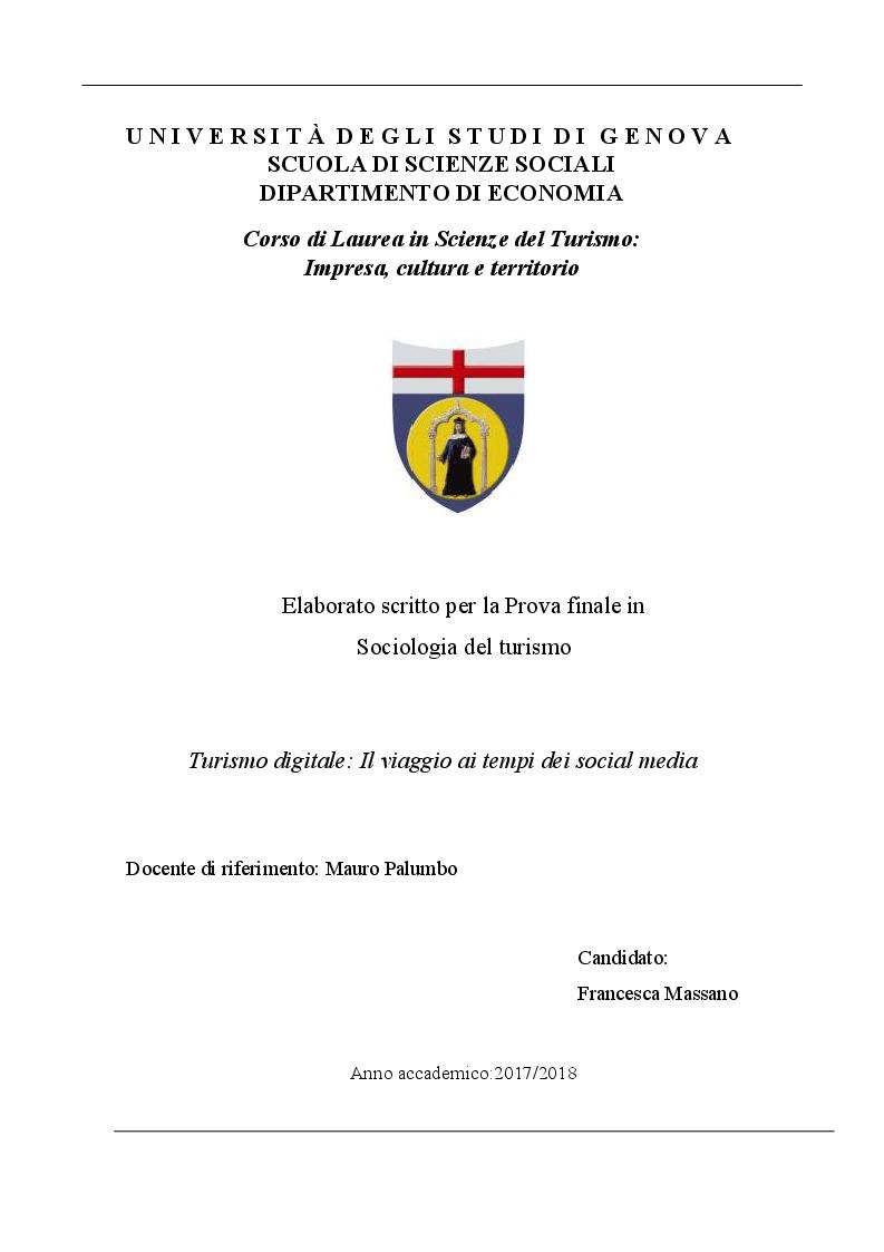 Anteprima della tesi: Turismo Digitale: il viaggio ai tempi dei social media, Pagina 1