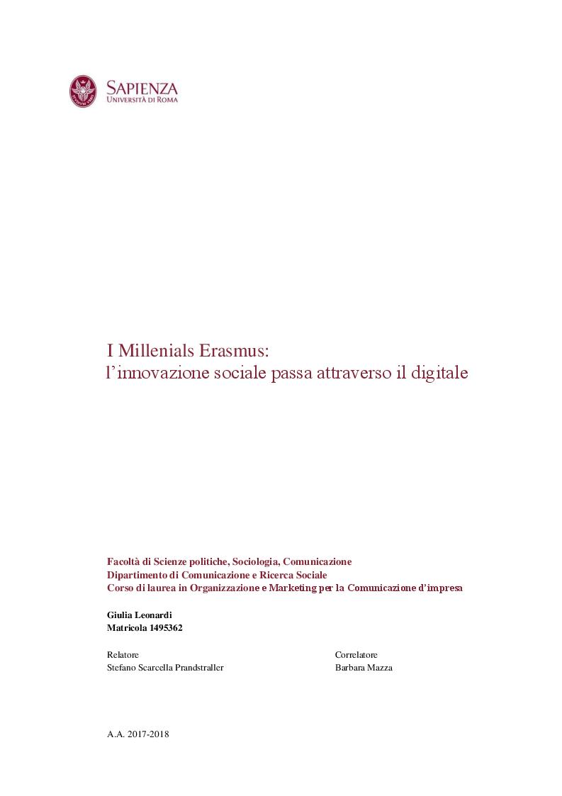 Anteprima della tesi: I Millenials Erasmus: l'innovazione sociale passa attraverso il digitale, Pagina 1