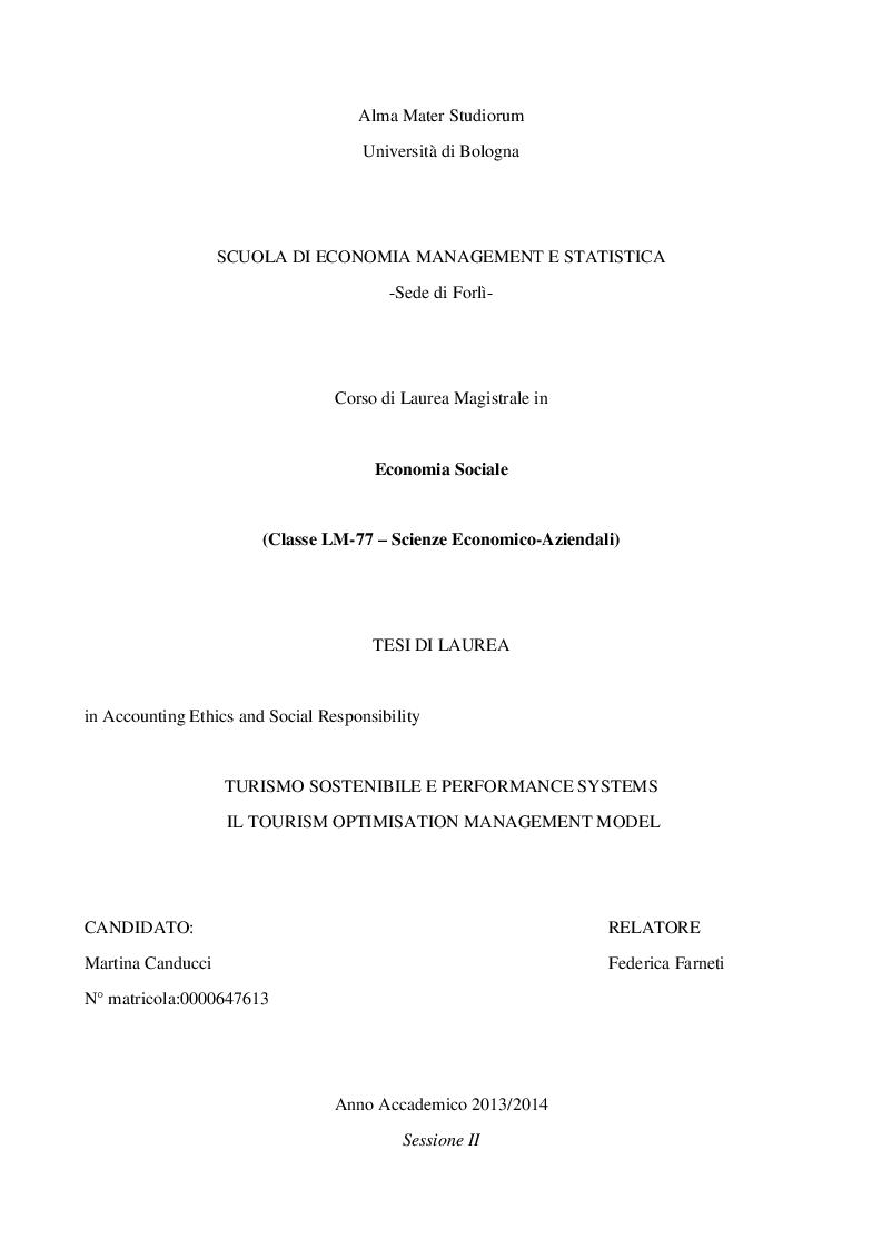 Anteprima della tesi: Turismo sostenibile e performance system: Il Tourism Optimization Management Model, Pagina 1