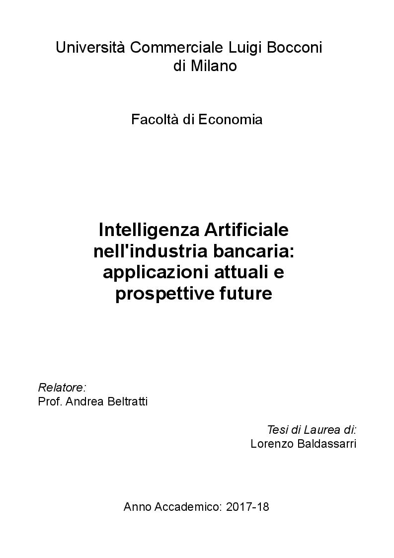 Anteprima della tesi: Intelligenza Artificiale nell'industria bancaria: applicazioni attuali e prospettive future, Pagina 1