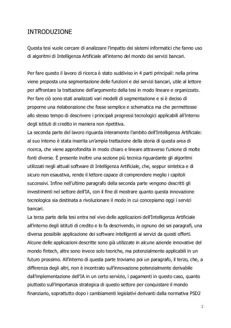 Anteprima della tesi: Intelligenza Artificiale nell'industria bancaria: applicazioni attuali e prospettive future, Pagina 2
