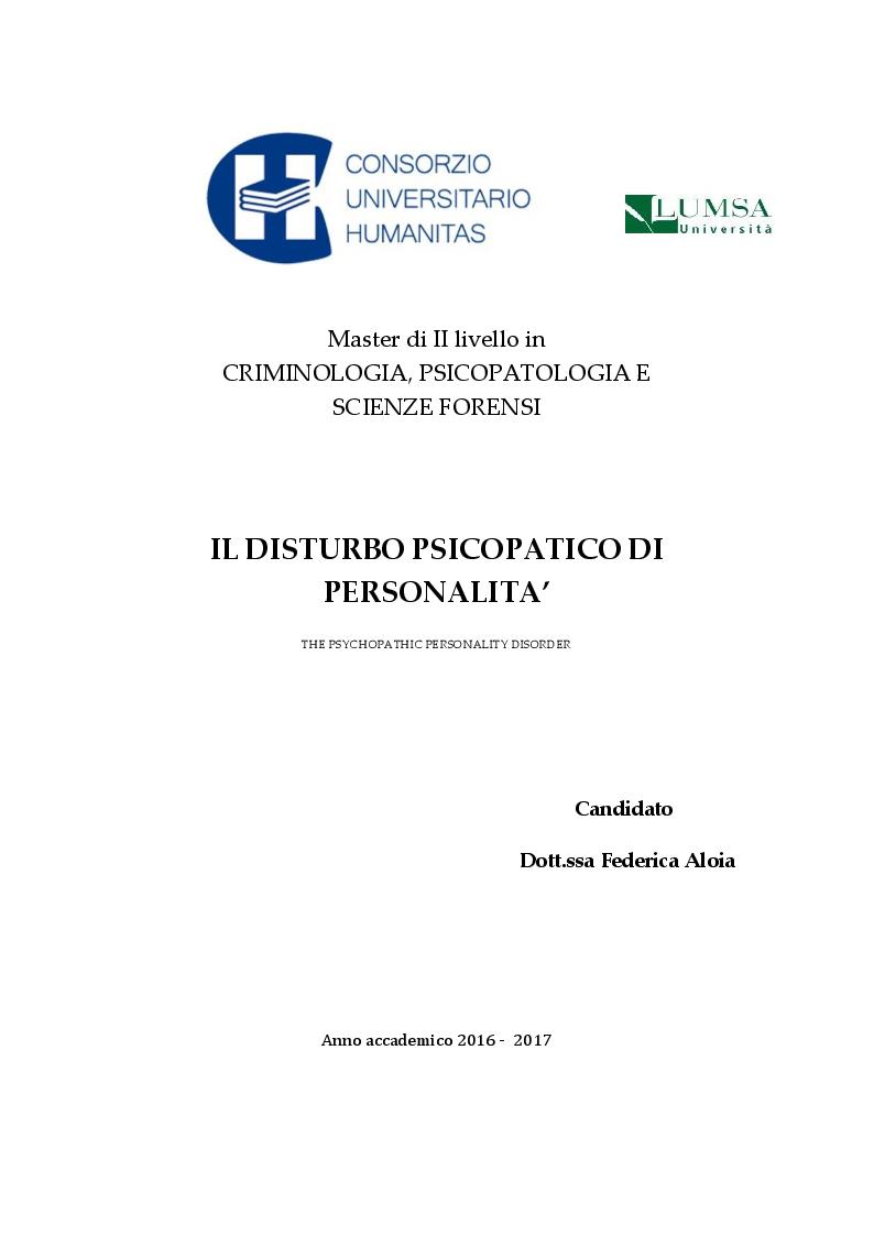 Anteprima della tesi: Il Disturbo Psicopatico di Personalità, Pagina 1