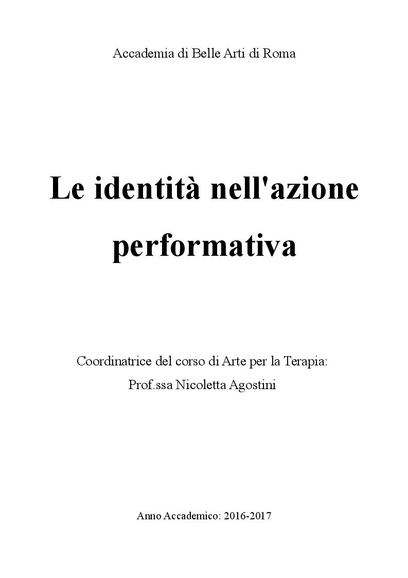 Anteprima della tesi: Le identità nell'azione performativa, Pagina 1