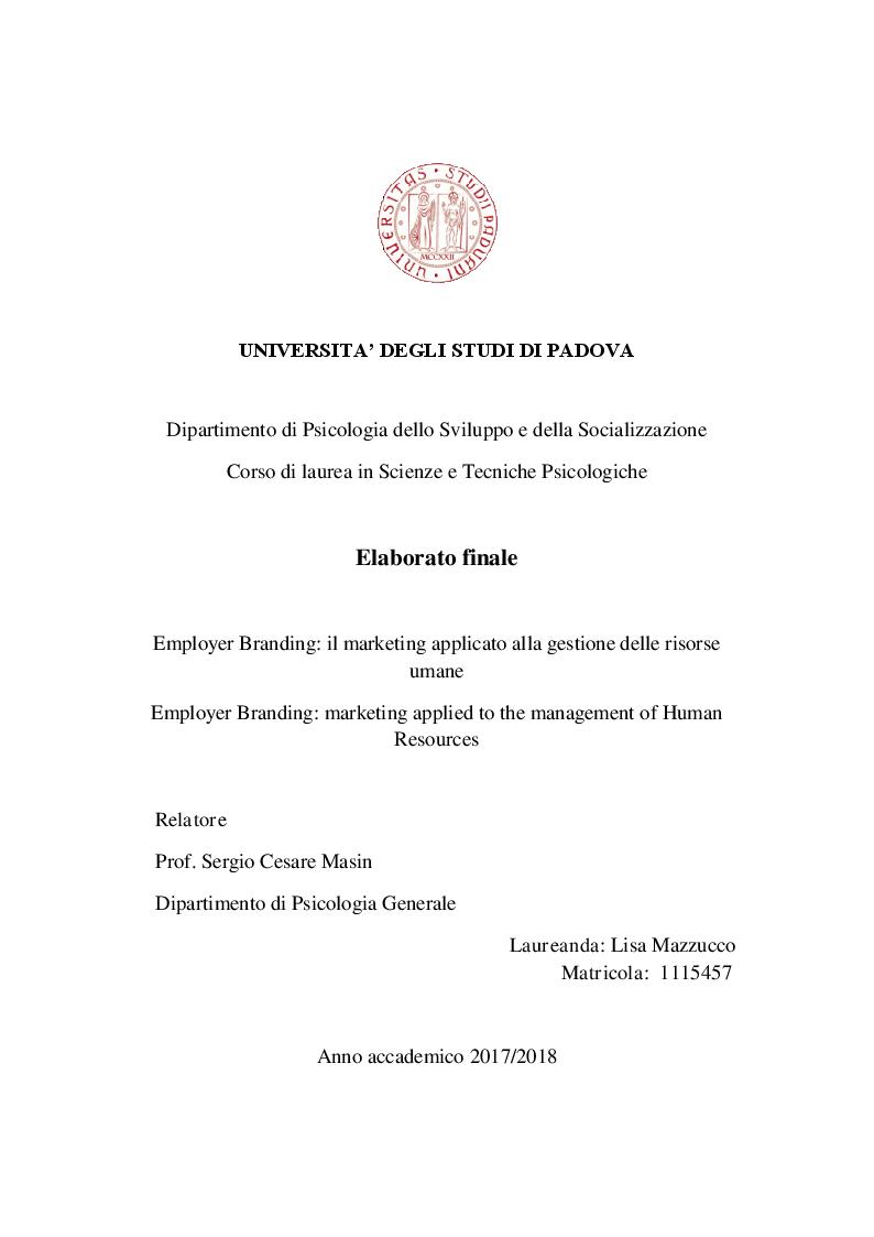 Anteprima della tesi: Employer Branding: il marketing applicato alla gestione delle risorse umane, Pagina 1