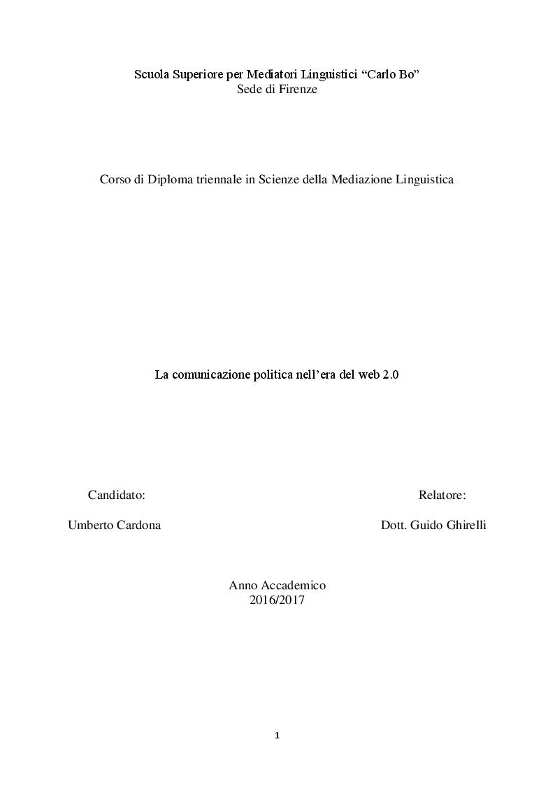 Anteprima della tesi: La comunicazione politica nell'era del web 2.0, Pagina 1