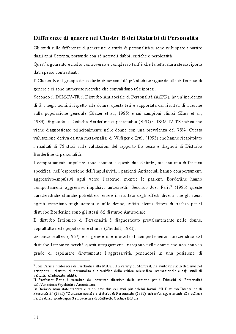 Anteprima della tesi: Genere e disturbi di personalità, Pagina 3