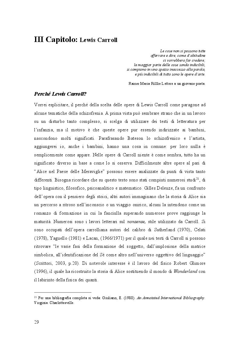 Anteprima della tesi: Il mondo di Carroll e la schizofrenia. Confronto tra il comportamento schizofrenico e le opere di Lewis Carroll, Pagina 2