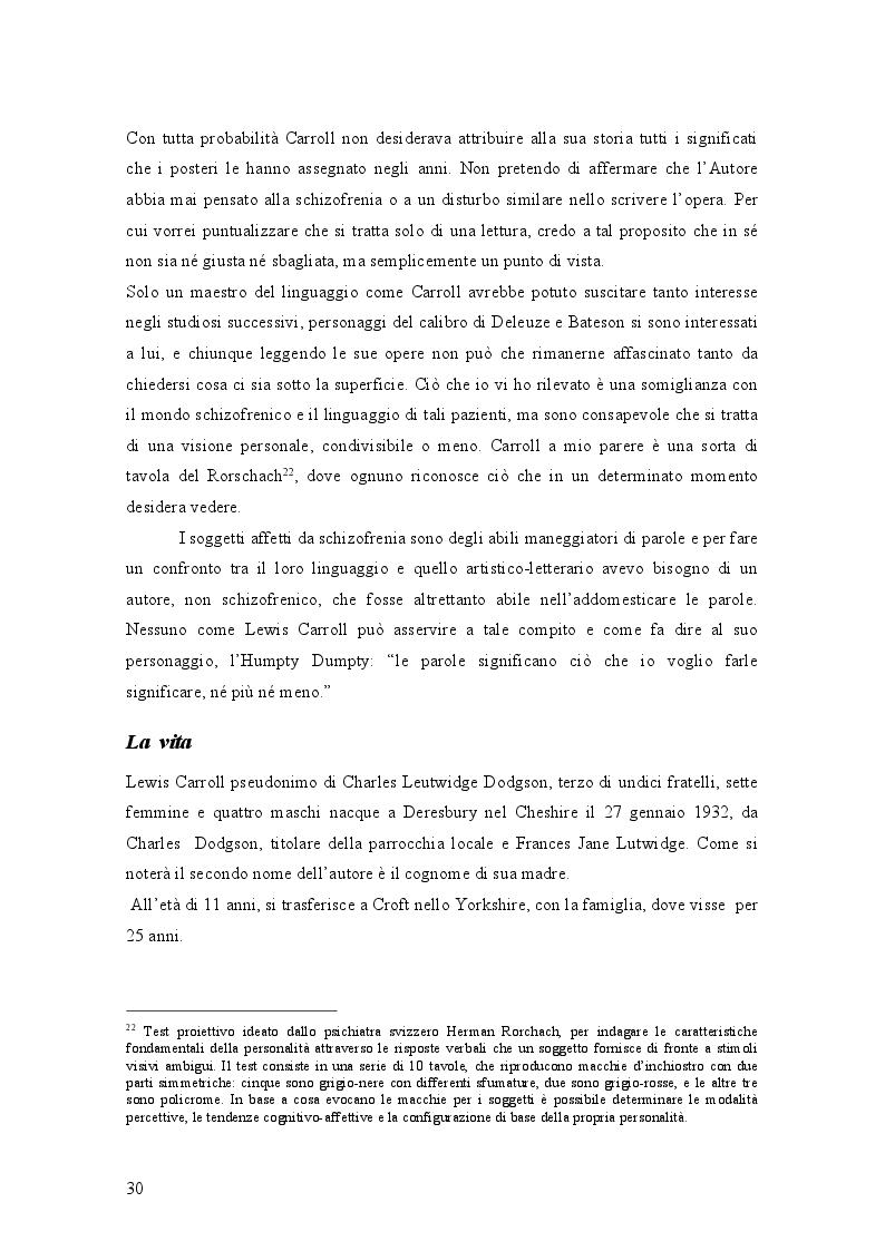 Anteprima della tesi: Il mondo di Carroll e la schizofrenia. Confronto tra il comportamento schizofrenico e le opere di Lewis Carroll, Pagina 3