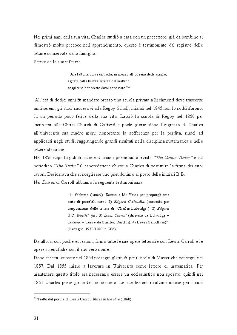 Anteprima della tesi: Il mondo di Carroll e la schizofrenia. Confronto tra il comportamento schizofrenico e le opere di Lewis Carroll, Pagina 4
