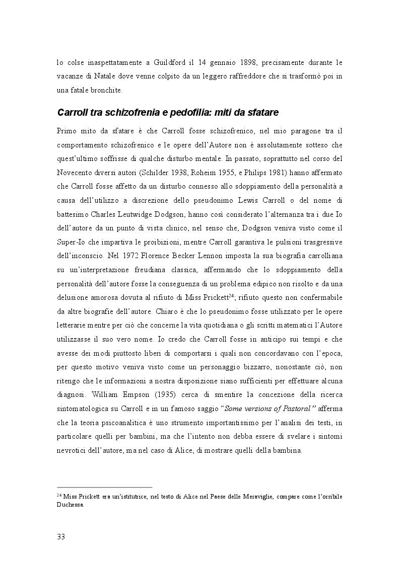 Anteprima della tesi: Il mondo di Carroll e la schizofrenia. Confronto tra il comportamento schizofrenico e le opere di Lewis Carroll, Pagina 6
