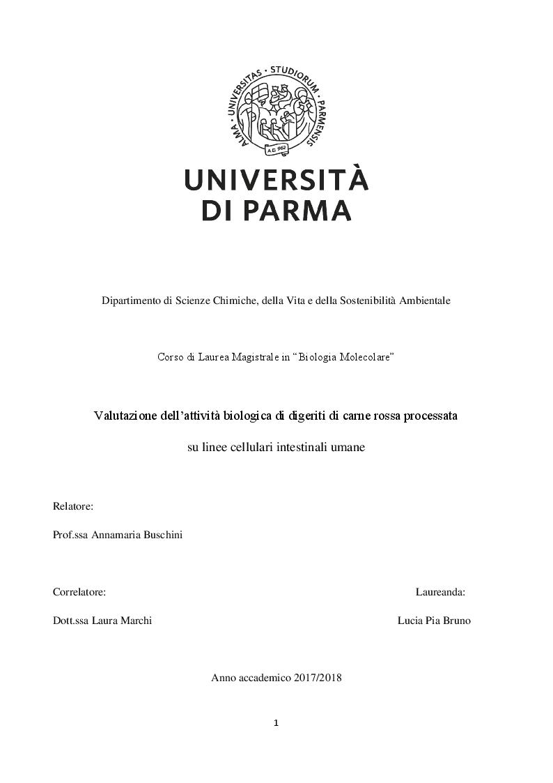 Anteprima della tesi: Valutazione dell'attività biologica di digeriti di carne rossa processata su linee cellulari intestinali umane, Pagina 1