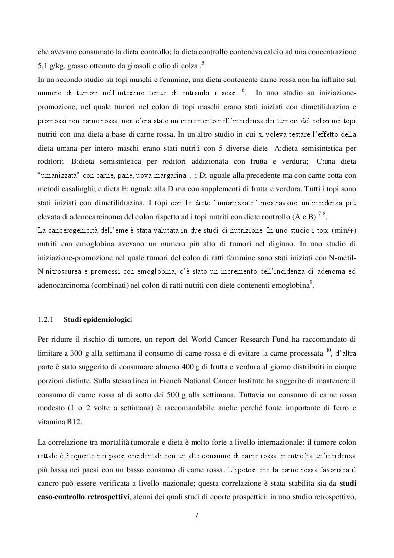 Anteprima della tesi: Valutazione dell'attività biologica di digeriti di carne rossa processata su linee cellulari intestinali umane, Pagina 4