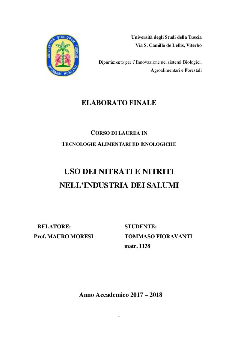 Anteprima della tesi: Uso dei Nitrati e Nitriti nell'industria dei salumi, Pagina 1