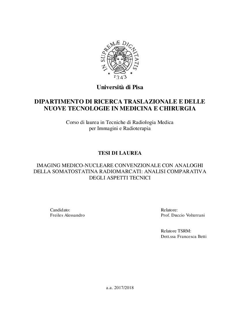 Anteprima della tesi: Imaging medico-nucleare con analoghi della somatostatina radiomarcati: Analisi comparativa degli aspetti tecnici, Pagina 1