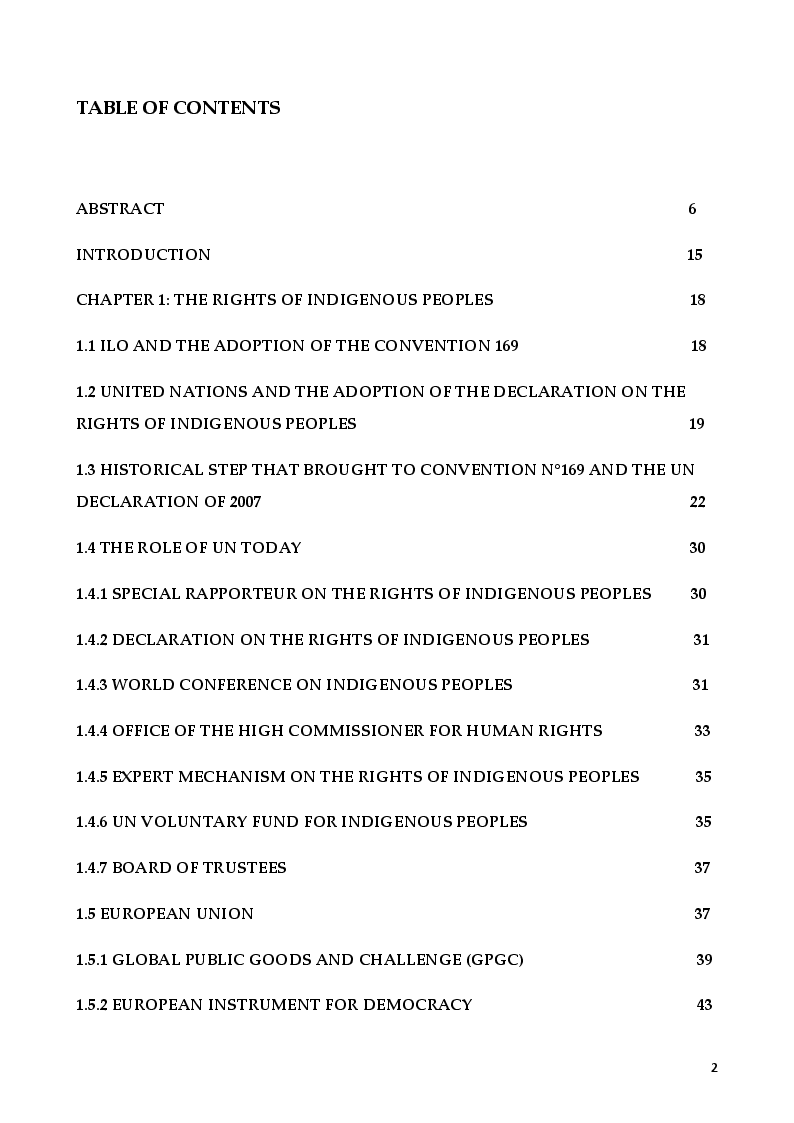 Indice della tesi: The Rights of Indigenous Peoples: Mapuche case, Pagina 1