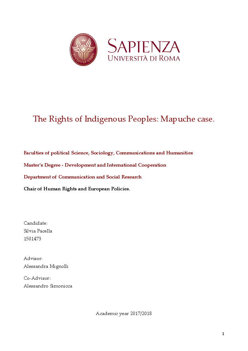Anteprima della tesi: The Rights of Indigenous Peoples: Mapuche case, Pagina 1