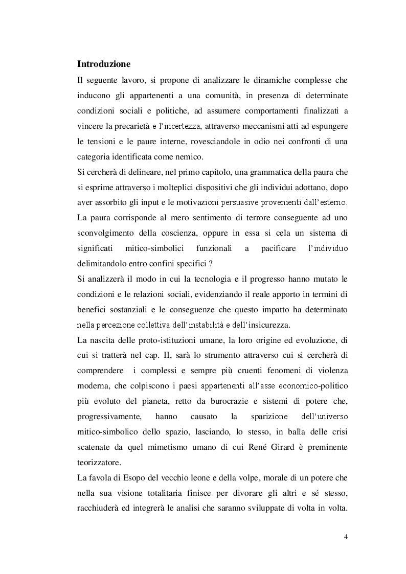 Anteprima della tesi: Paura dello straniero e simbolica dello spazio, Pagina 2
