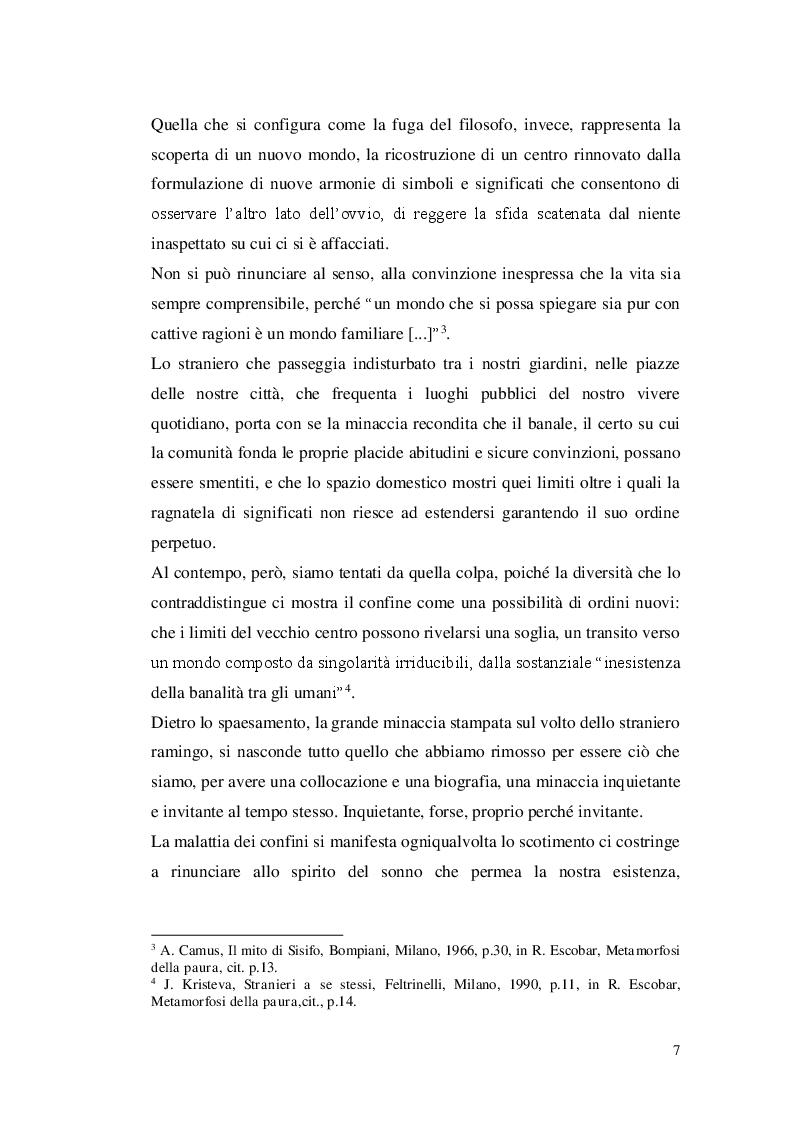 Anteprima della tesi: Paura dello straniero e simbolica dello spazio, Pagina 5