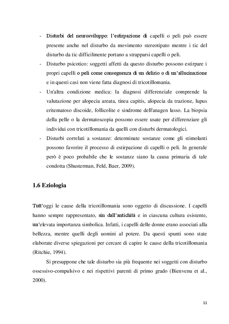 Estratto dalla tesi: La tricotillomania e uno strumento per la sua misura, il Milwaukee Inventory for styles of Trichotillomania-adult version (MIST-A): uno studio preliminare per la validazione della versione italiana